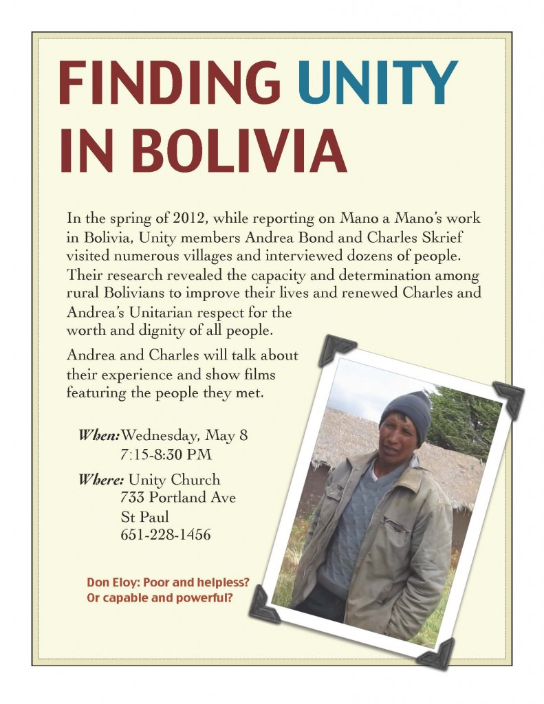 Finding Unity in Bolivia – May 8 Event