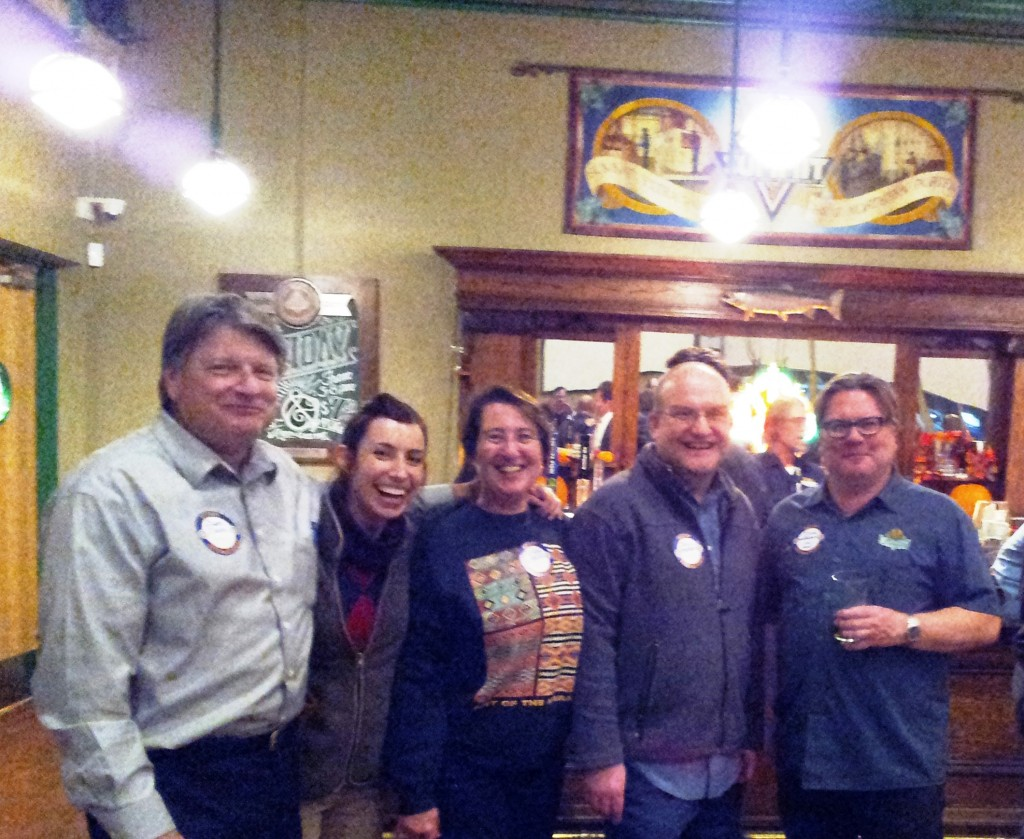 From left to right: Mano a Mano Executive Director Dan Narr, Office Manager Dana Dallavalle, Mano a Mano supporters Robin Moede and Joel Lagerquist, and Summit Brewing Company Founder and CEO Mark Stutrud