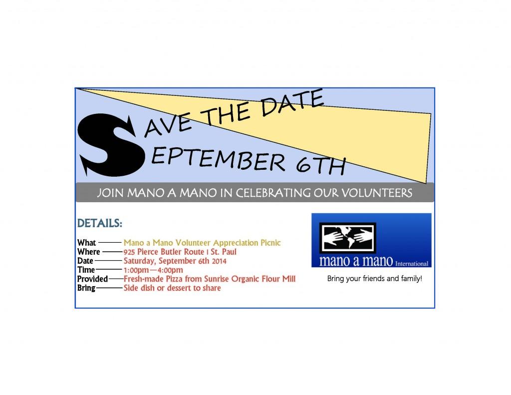 2014 Mano a Mano Volunteer Appreciation Picnic - Information