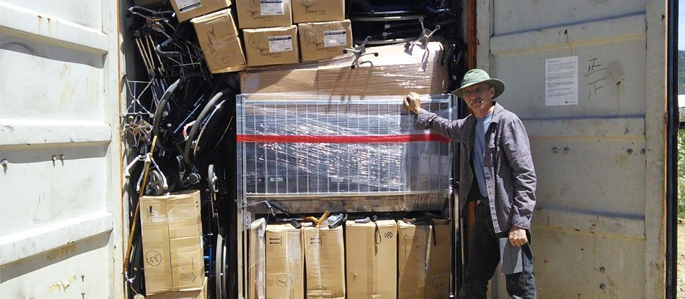 Ray in Bolivia in March 2016 helping unload supplies shipped from Minnesota.