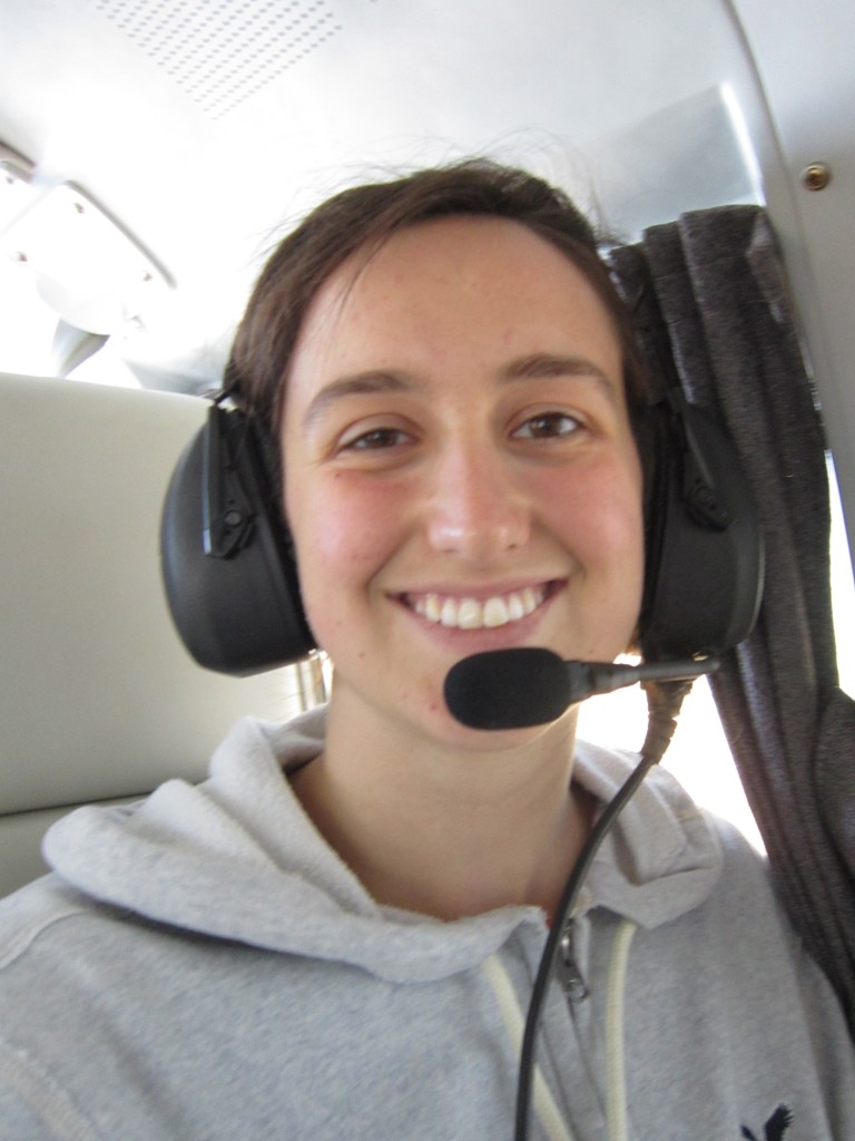 Libby on one of the Mano a Mano planes during a flight in 2012.