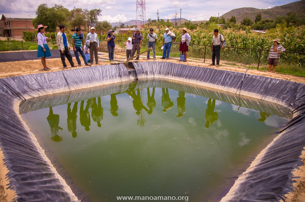 Lapiani leaders observing the methods used at the CEA to prevent losing irrigation water to evaporation and seepage.