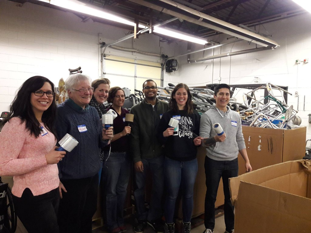 MINN volunteers at Mano a Mano sorting supplies, March 1st, 2017
