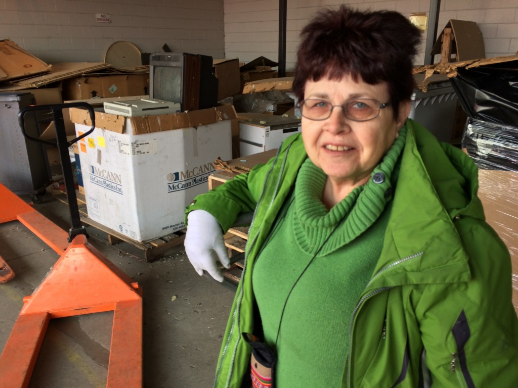 Lori Wedeking, in the Mano a Mano Warehouse in St. Paul, MN