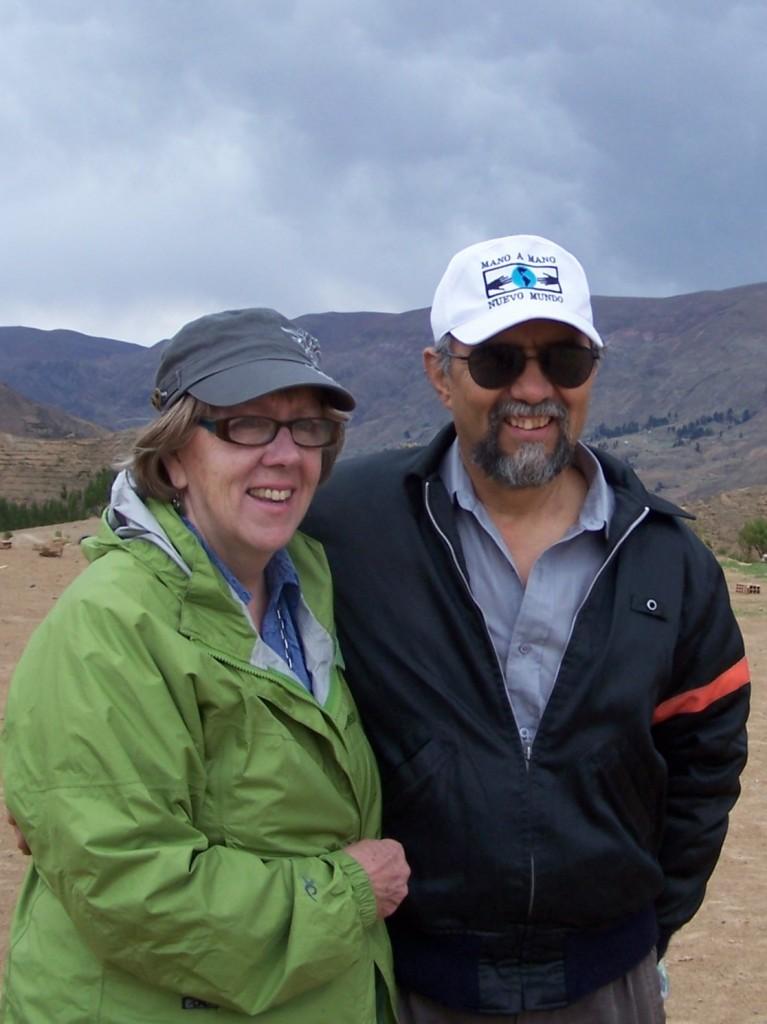 Susan Eyre with Mano a Mano co-founder Segundo Velasquez on a trip to Bolivia in November 2012