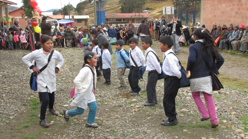 The community of Sora Sora celebrating the completion of their school on June 28, 2016.