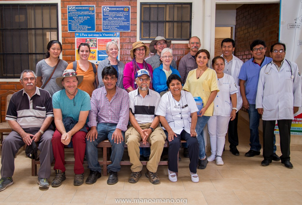 "Lindsay Emi (top left) with Mano a Mano's ""Beyond Sustainability"" travel group in Omereque, Bolivia, March 2017."