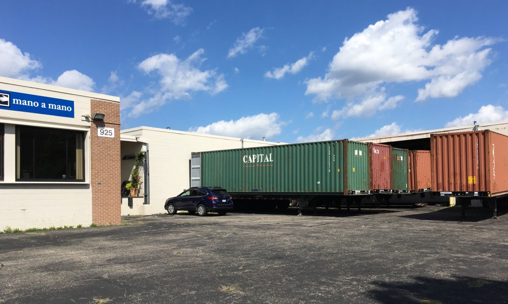 Loading 5 Containers with Supplies for Bolivia – August 2017