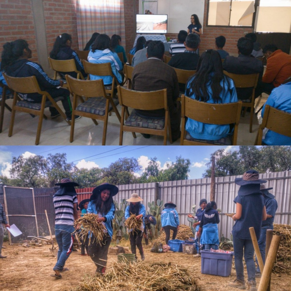 This morning we hosted 27 students from the Cuenca Educativa Guardana de Oruro for a workshop at our Center for Ecological Agriculture (CEA). The workshop was Environmental Issues & Principles of Agroecology, and included a theory and practical section.