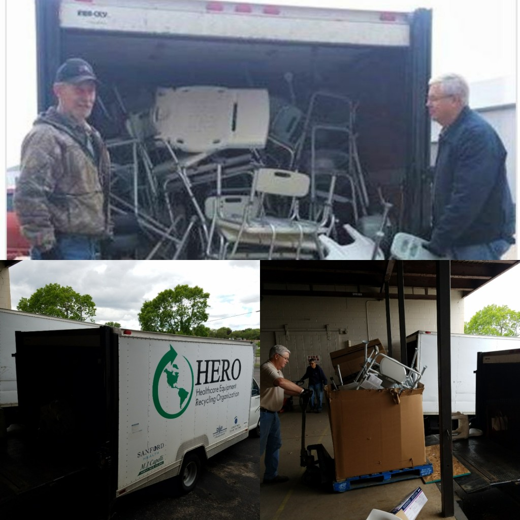 HERO Fargo picking up supplies (mostly shower chairs) from Mano a Mano in May 2017.