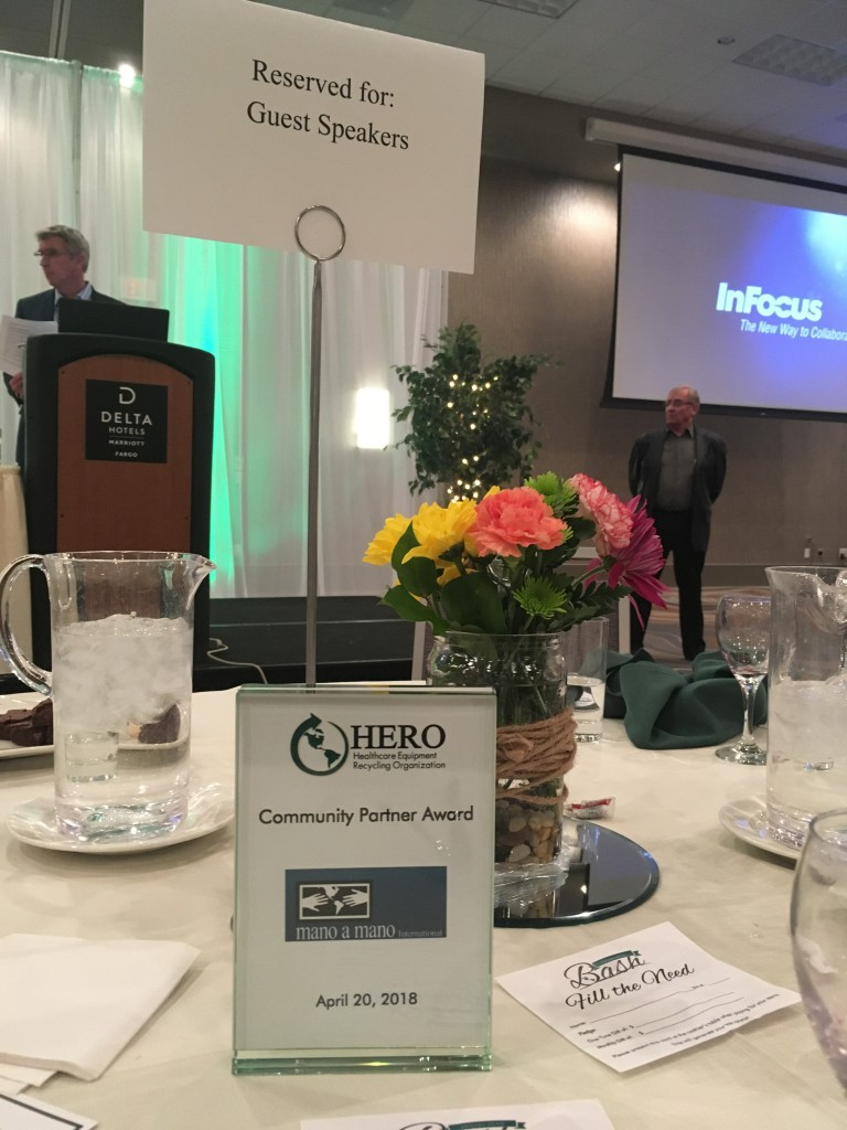 Mano a Mano Operations Manager Carmen Paredes Dockry attended HERO's event on April 20, 2018 where Mano a Mano was recognized. (Thanks HERO for the invite!)
