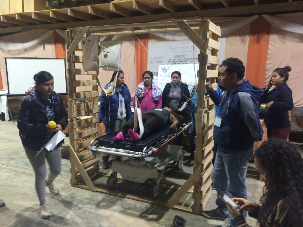Physical Therapy Workshop attendees using the PT cage during a practical section.