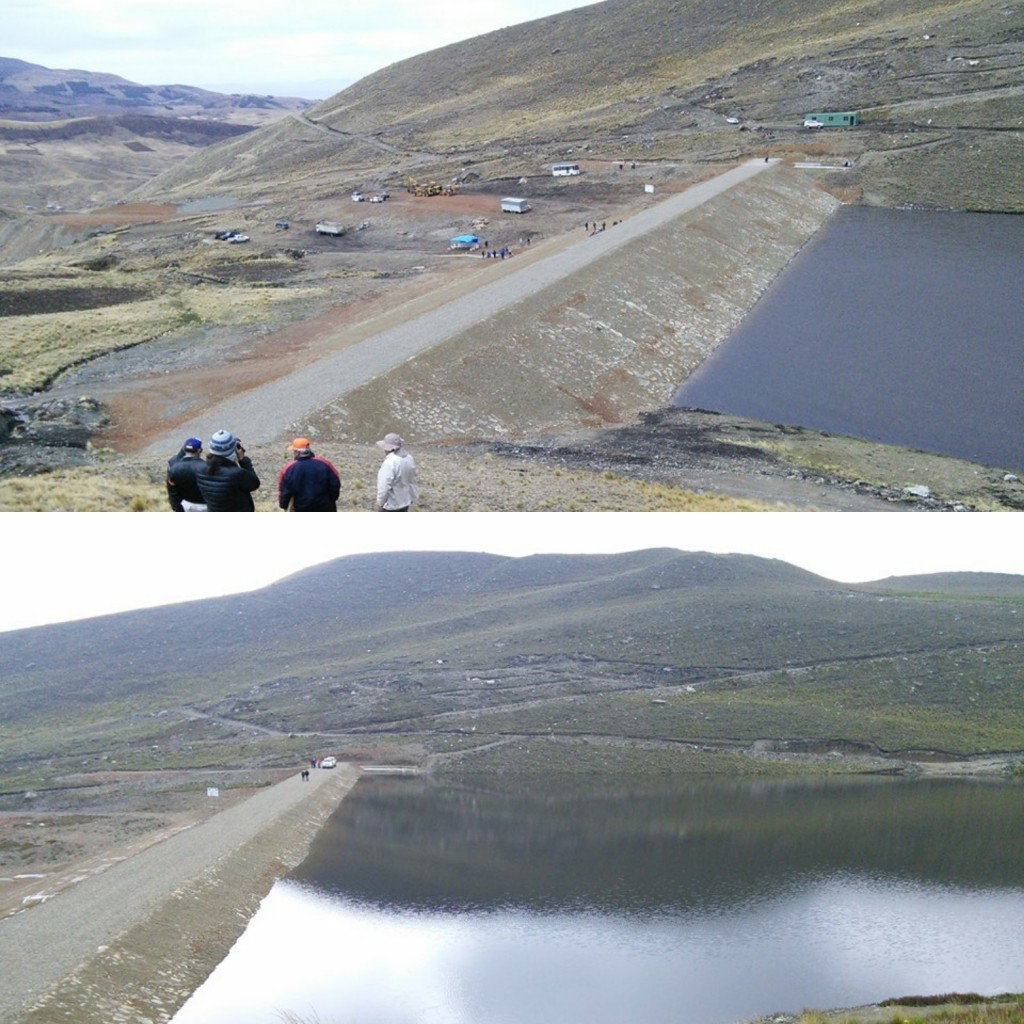 The Wirkini Water Reservoir was completed in October 2016 and quickly filled with about 20 feet of water (top picture). By March 2017 the water was 50 feet deep (bottom picture).