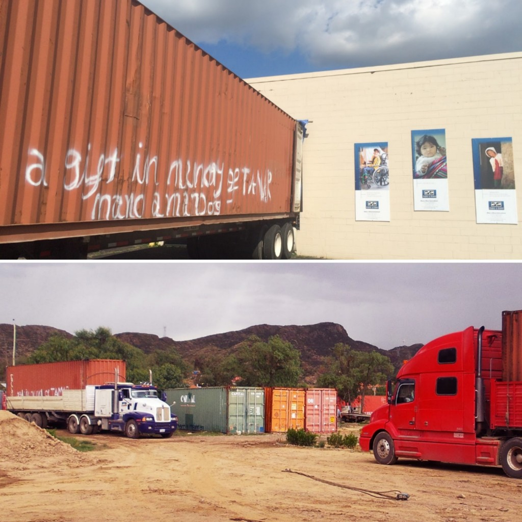 "Top: One of 5 containers at Mano a Mano in St. Paul, MN in August 2017; Bottom: all 5 containers arriving at Mano a Mano in Cochabamba, Bolivia in early 2018. ""A gift in memory of Tamar"" was tagged on each container (it's partially visible on the red container on the far left arriving in Bolivia)."