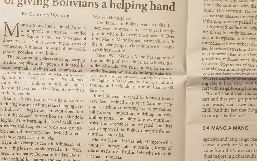 Mano a Mano Article in the Villager Newspaper