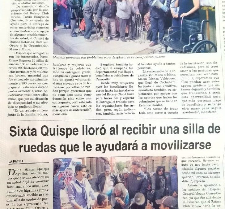 Article in La Patria Newspaper – Distributing Mobility Equipment in Oruro, Bolivia