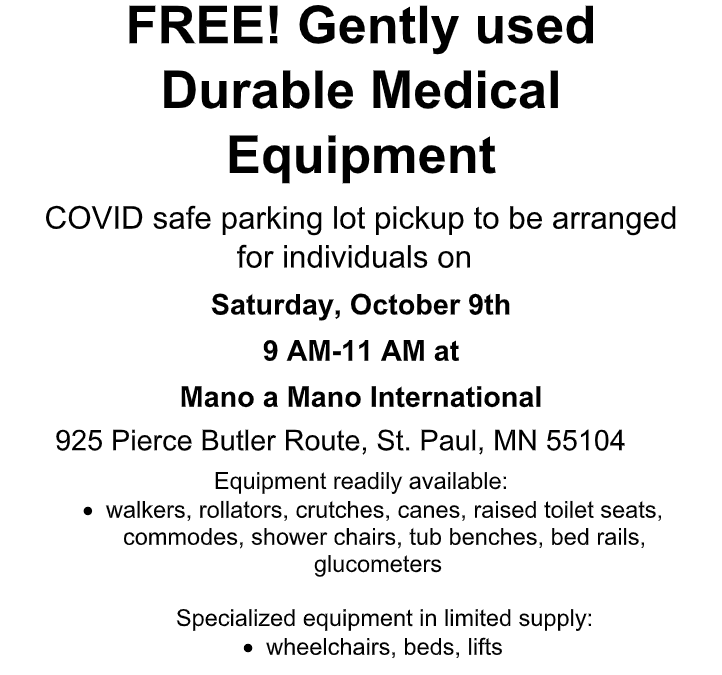 Durable Medical Equipment Giveaway on Saturday, October 9th